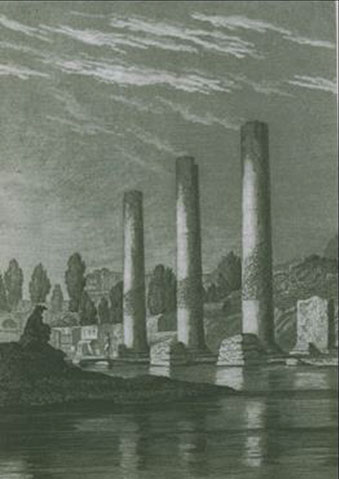 Frontispiece from Lyell's Principles of Geology. The figure crouched contemplating the columns is Lyell himself.