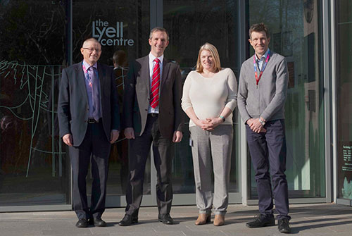 Left to right: Professor Garry Pender, Deputy Principal Research and Innovation (HWU); Liam McArthur MSP; Dr Tracy Shimmield, Lyell Centre Director; Professor Malcolm Chrisp, Head of School of Energy, Geoscience, Infrastructure and Society, Heriot-Watt University.