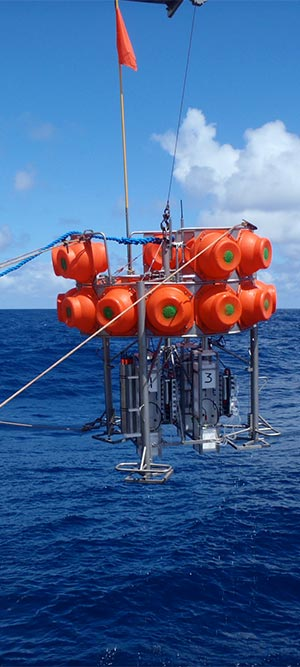 The Lyell Centre's deep-sea benthic respirometer lander being recovered from a dive to 4200m water depth (Picture credit: A.K. Sweetman, HWU)